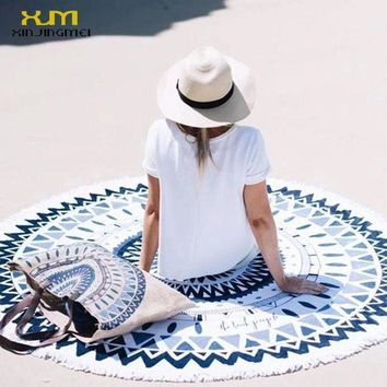 LMFONRZ 2017 Sunbathe Round Beach Towel Blue Floral Beach Cover Ups Round Beach Mat Swimsuit Cover Up Bikini Cover Up with Tassels