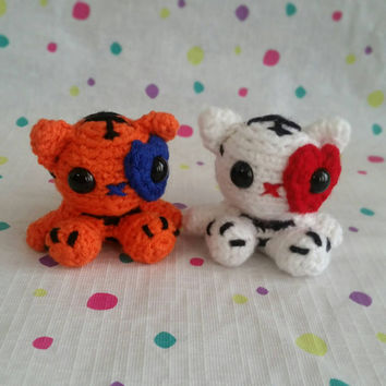 Mini Amigurumi Tiger Plush Stuffed Animal Bengal Tiger Mini Pet White Tiger Kawaii Chibi Gift Toy Collectible Room Decor