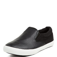 Wide Fit Black Snakeskin Texture Slip On Plimsolls