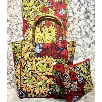 Winnie Flower African Print Wax Print Large Hobo Bag