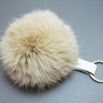 Beige, Pom Pom, Keychain, Pom Pom, Keyring, White, Leather, Rabbit, Fur, Pom, Pom, Key, Chain, Key, Ring, Leather, Jewelry