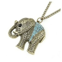 Leegoal Vintage Bronze Elephant Pendant Long Chain Necklace