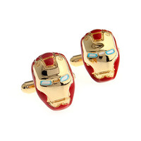 Iron Man Cufflinks Set - 1 Pair of Superhero Cufflinks with a Leatherette Gift Box
