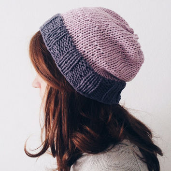 Lilac and Grey Knit Hat, Cotton Beanie, Slouchy Hipster Beanie, Summer Hat, Gift for Girlfriend
