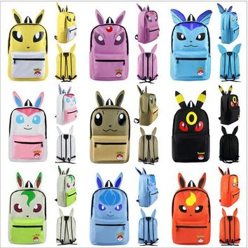 Pokemon Squirtle Sylveon Espeon Glaceon Canvas Backpack Students Shoulders Bag Pocket Monster Haunter Schoolbags Laptop Bags