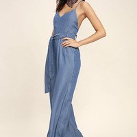 Cruise Blue Chambray Jumpsuit