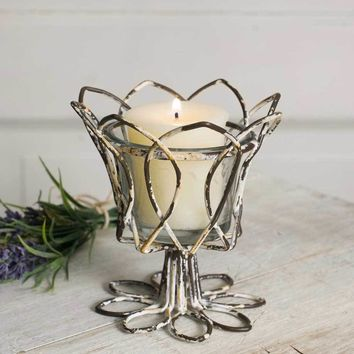 Distressed White Tulip Votive Holder With Glass