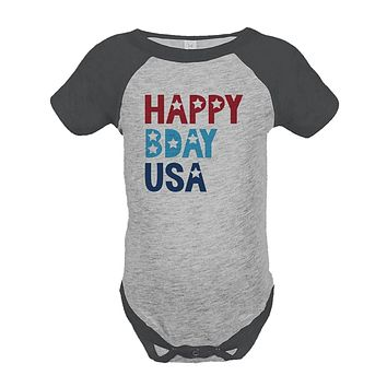 Custom Party Shop Kids Happy Bday USA 4th of July Grey Onepiece
