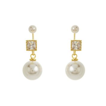 Gold Over Sterling Silver Pearl and Square CZ Peek-A-Boo Earrings
