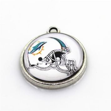 New Arrive 10pcs Helmet American Football Sports Charms Miami Dolphins Dangle Charms Diy Jewelry Accessory Hanging Charms