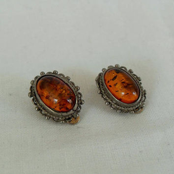 Vintage Clip On Sterling Baltic Amber earrings, vintage sterling Amber gemstone stud earrings, Boho jewelry, gift ideas, Gingerslittlegems