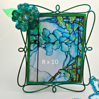 Peacock Picture Frame, turquoise, green, teal blue, recycled art, flower, Tiffany blue,  home decor, wedding frame, peacock decor,  8 x 10