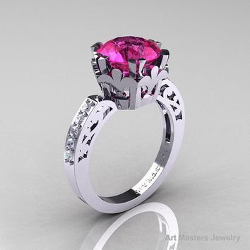 Modern Renaissance 14K White Gold 3.0 Carat Pink Sapphire Diamond Solitaire Ring R402-14KWGDPS