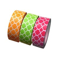 Dress My Cupcake Summer Quatrefoil Collection Washi Paper Tape for Gifts and Favors, Coral/Kiwi/Orange, Set of 3