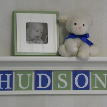 "Baby Boy Nursery Wall Decor / Room Decor - Custom for HUDSON on 24"" Linen White Shelf with 6 Green and Blue Wall Letters"