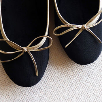 Gold Nights Handmade ballet flats in black and by DeBonisOrquera