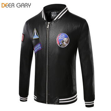 Men's Black Slim Fit Faux Leather Baseball Jacket With Patches