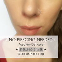 Medium-Delicate Silver Faux Nose Ring - Sterling Fake Nose Hoop - Clip on Nose Ring - Non Pierced - No Piercing - Sterling Silver
