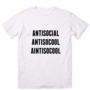 Anti-Social Is Cool Custom Tees Casual T Shirts Running Tee