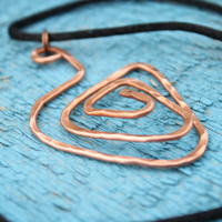 Handcrafted Triangular Hammered Copper Wire Pendant on Satin Cord