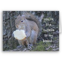 Funny Squirrel, nutella to my bread, miss you card from Zazzle.com