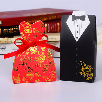 100pcs/lot bride and groom shape with silk ribbons  favor box wedding party favor gift packaging box
