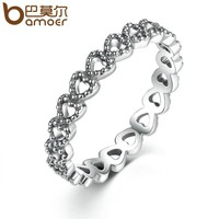 BAMOER Romantic Silver Color Heart to Heart Ring AAA Zirconia Cheap Rings for Women Wedding Jewelry Dropship PA7218