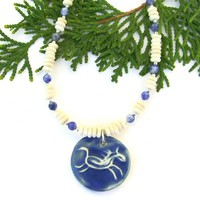 Petroglyph Running Horse Necklace, Bone Blue Sodalite Handmade Beaded Pendant Jewelry