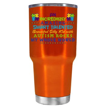 TREK An Amazing Smart Talented Kid with Autism on Translucent Orange 30 oz Tumbler Cup