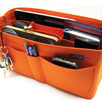 X3. Orange felt bag organizer  - X large size for travel (W 14in H 6.7in D 5.5in ), also for a school / baby bag, desk, car & etc.