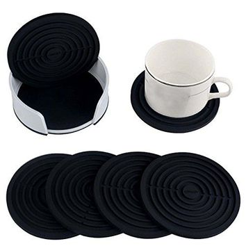 Coasters for Drinks with Holder by HIRUN  Set of 6 Round Silicone Coasters  Large 4 inch Art Car Bar Tea Coffee Table Mug Beer Bottle Beverages Absorbent for Wine Glass Rubber Black Cup Mat