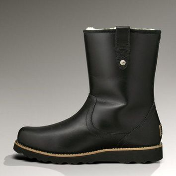 LFMON UGG 3247 Tall Leather Men Fashion Casual Wool Winter Snow Boots Black