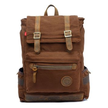 ZLYC Canvas Hiking Travel Backpack Vintage Military Rucksack Leather Trim Book Bag For Men, Women Fit 17 Inch Laptop, Coffee