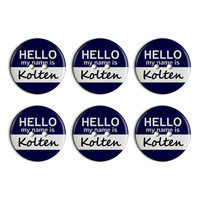 Kolten Hello My Name Is Plastic Resin Button Set of 6