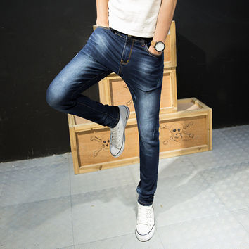 Summer Men Korean Pants Slim Stretch Casual Jeans [6528760643]