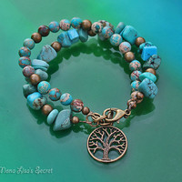 Turquoise Tree of Life Bracelet, 2 Strand Boho Style Gemstone Bracelet, Turquoise Magnesite and Imperial Jasper Bracelet, Mother's Day Gift