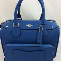 New Authentic Coach F57521 Mini Bennett Satchel Shoulder Bag Crossgrain leather in Lapis+Wallet Set
