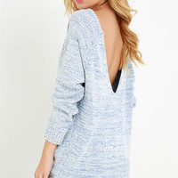 Fireside Sparks Ivory and Blue Backless Sweater