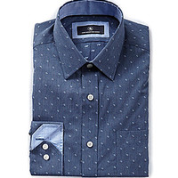 Hart Schaffner & Marx Long-Sleeve Jacquard Woven Shirt - French Blue