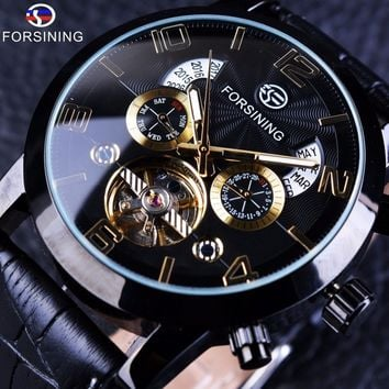 FORSINING Brand Rose Gold Multifunction Mechanical Watches Auto Analog Date Day Leather Strap Wrist Automatic Clock+Gift Box