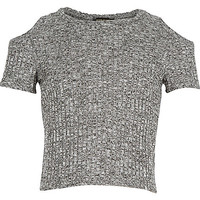 Girls grey cold shoulder t-shirt