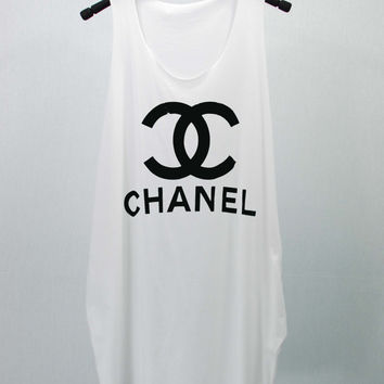 CHANEL COCO CHANEL T Shirts Tank Top Tunic Blouse Dress loose hip women handmade silk screen printing Logo