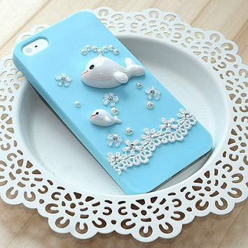 Lovely Dolphin crystal Case  for iPhone 4 4G 4S 5 5G Samsung galaxy S3 9300 9220 7100  iphone 4 cover,iphone 5 cover