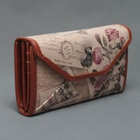 New Arrival women's long design vintage cartoon flower printing fashion wallet, high quality brand design leather long wallet