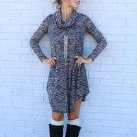 Gray Cowl Neck  Asymmetrical Hem Knit Dress