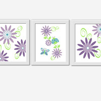 PURPLE Baby Nursery Wall Art Lavender Teal Flower Bursts Dahlia Ladybug Butterfly Floral Prints Home Decor Girls Room Art 3 Print Set