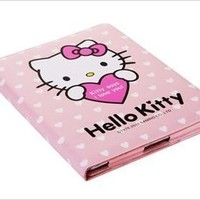 Leather Case Hello Kitty White Hearts Theme for iPad 2 and iPad 3 (PINK)