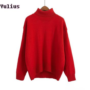 Women Turtleneck Ribbed Sweater Jumper Autumn Winter Loose Knitted Sweater Pullover Casual Solid Yellow Red Soft Pull Femme