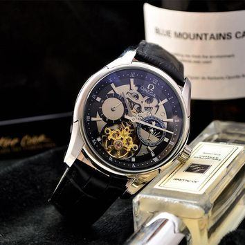 HCXX O033 Omega Hour Vision Swiss Made Leather Strap Watches Black Gold White Blue