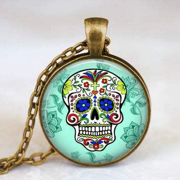 Handmade Mexican Sugar Skull Pendant, Day of The Dead Necklace,Antique bronze/Silver Chain, sugar skull jewelry